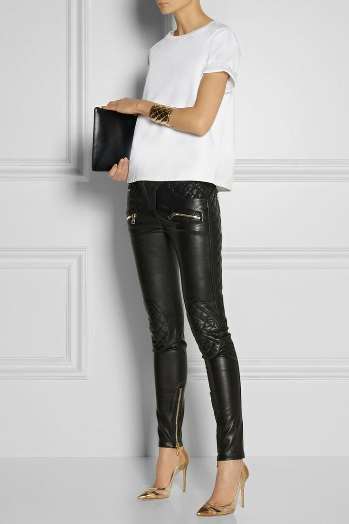 Quilted leather skinny pants