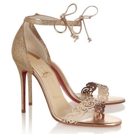 CHRISTIAN LOUBOUTIN Valnina 100 glitter-finished and leather sandals
