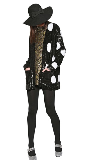 SAINT LAURENT CARDIGAN IN CASHMERE A POIS CON PAILLETTES