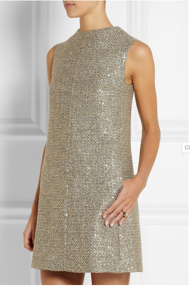 SAINT LAURENT  Sequin-embellished metallic tweed mini dress