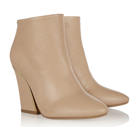 CHLOÉ Gold-trimmed textured-leather ankle boots